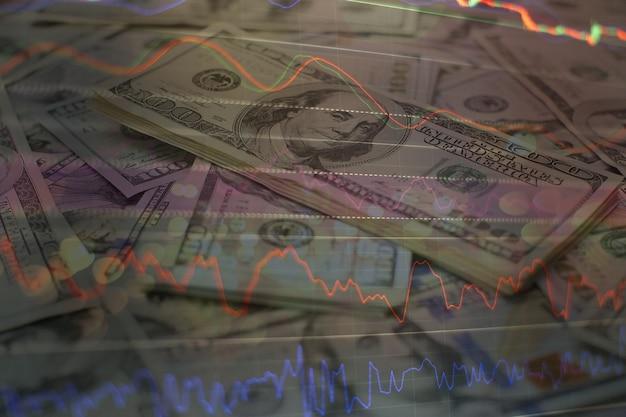 Gráficos de barras, diagramas, dados financeiros. gráfico forex. gráfico de gráfico de bastão de vela de negociação de investimentos no mercado de ações. o gráfico gráfico forex na tela digital.