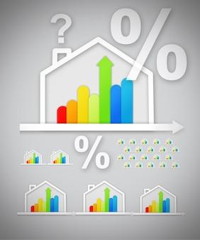 Gráficos de casa eficiente de energia com marcas de pergunta e porcentagem contra fundo cinza