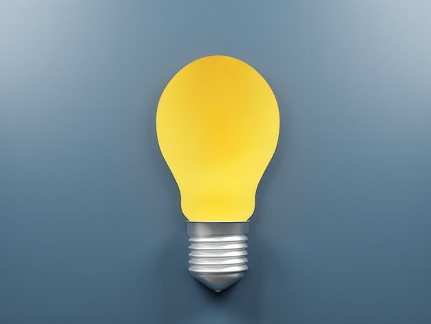 Gráficos de lâmpada e símbolos de ideia sobre um fundo azul.