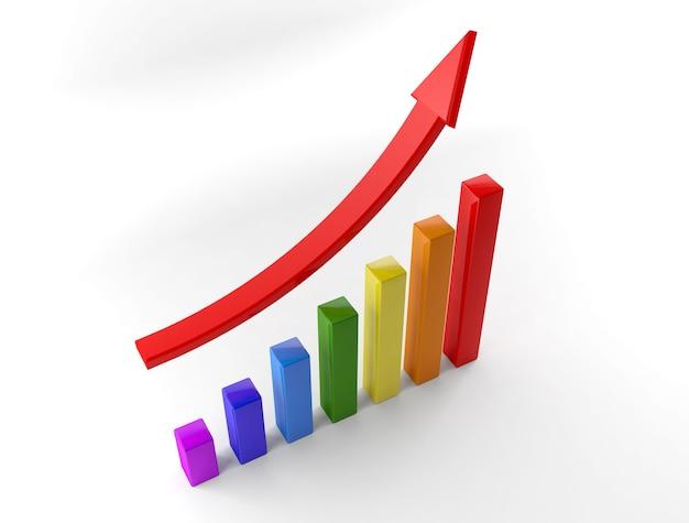 Gráficos de negócios com seta vermelha subindo