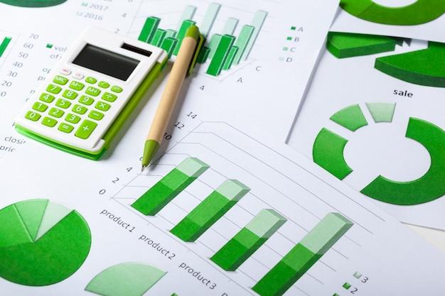 Gráficos de negócios verde