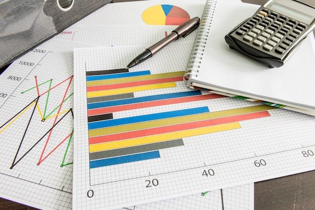 Gráficos financeiros, calculadora, arquivo de documento, caneta na mesa