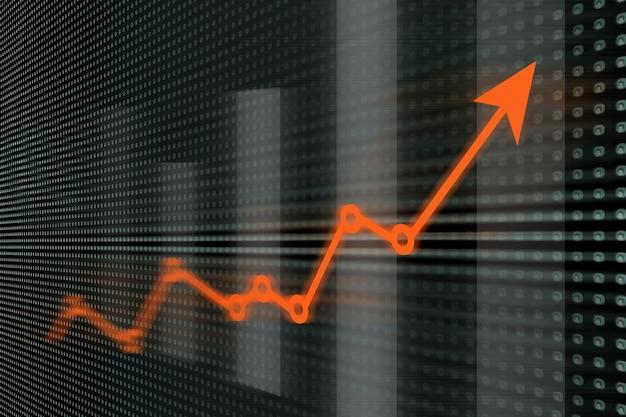 Gráficos financeiros e de negócios, conceito de finanças na tela led