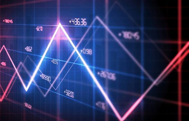Gráficos financeiros e gráficos de fundo. gráfico de linhas na tela, ilustração