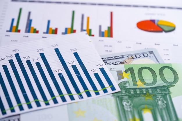 Gráficos gráficos de folha de cálculo. desenvolvimento financeiro, conta bancária, estatística, investimento, análise analítica, economia de dados