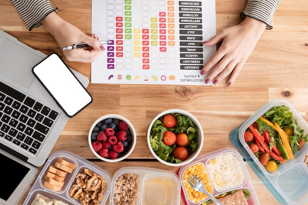 Gráficos plana leigos e alimentos orgânicos em lancheiras