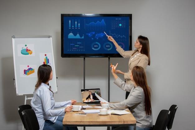 Gráficos, relatório mensal na tela. mulheres jovens conversando, trabalhando em videoconferência no escritório ou na sala de estar. negócios online, educação durante o isolamento, quarentena. trabalho, finanças, conceito de tecnologia.