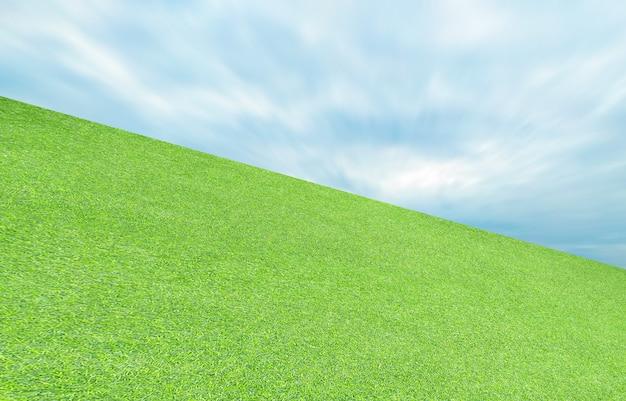 Grama artificial verde folha e céu