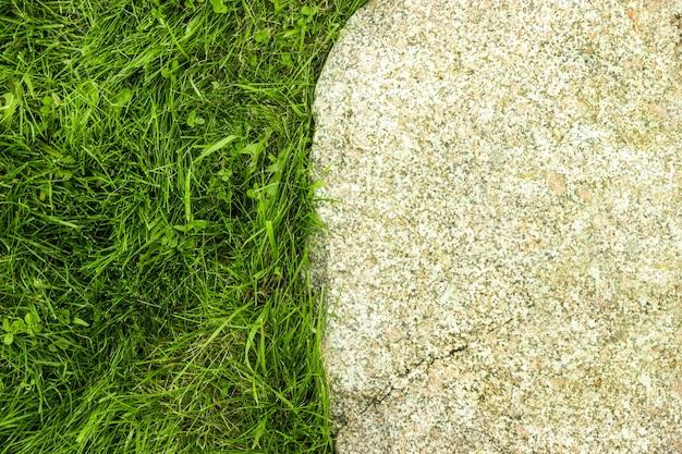 Grama e pedra. fechar-se. vista do topo.