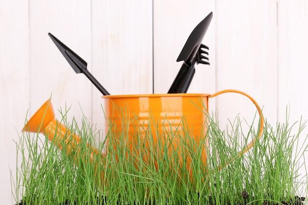 Grama verde e ferramentas de jardim em espaço de madeira