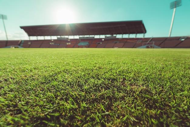 Grama verde, em, estádio futebol