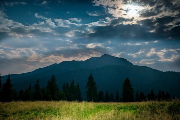 Grama verde em um gramado perto da montanha azul à noite com a luz da lua
