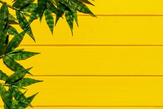 Gramas verdes tropicais na opinião superior do fundo de madeira amarelo.