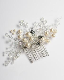 Grampo de cabelo para casamento, joias com pérolas e acessórios.