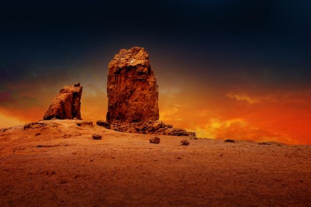 Gran canaria roque nublo dramático pôr do sol céu