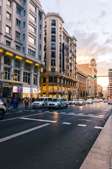 Gran via de madrid ao pôr do sol