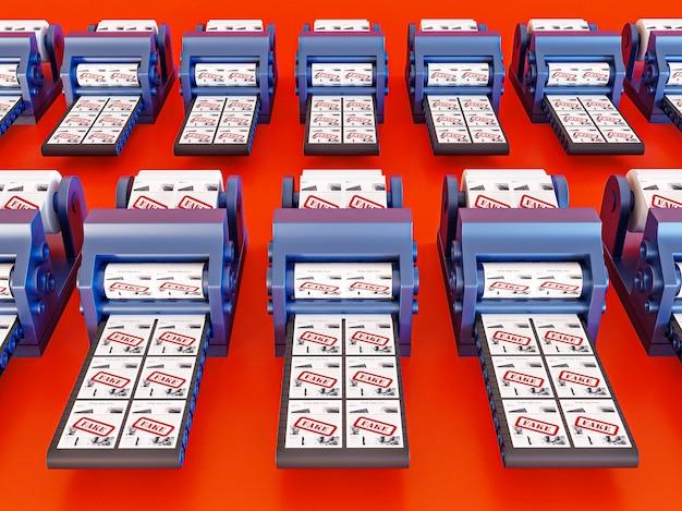 Grande ângulo de correias transportadoras com notícias falsas