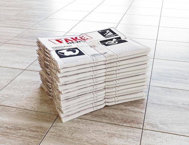 Grande ângulo de jornais empilhados com notícias falsas