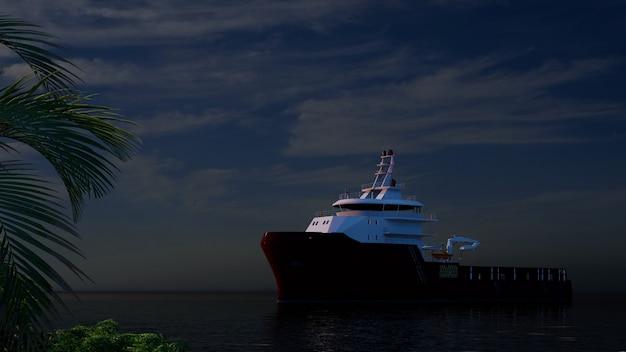 Grande barco no mar ao pôr do sol com a câmera se aproximando de meninas de bronzeamento