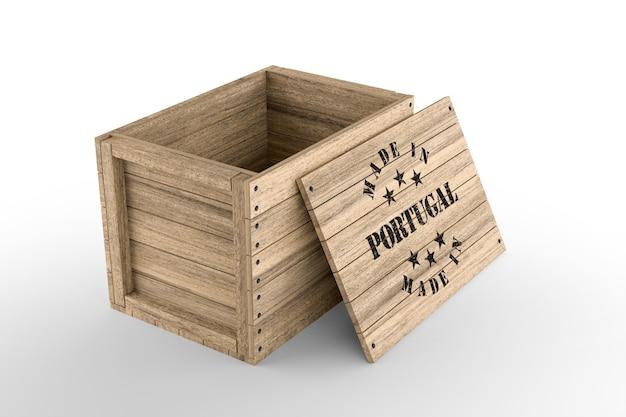 Grande caixa de madeira com texto made in portugal em fundo branco. renderização 3d