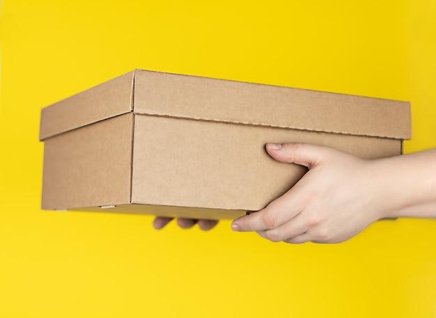 Grande caixa de papelão na mão sobre um fundo amarelo moderno, entrega de pedidos em sua casa pelo correio