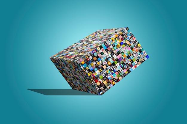 Grande caixa multimídia feita de uma variedade de imagens diferentes, sobre fundo azul