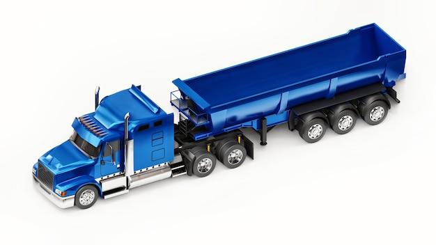 Grande caminhão americano azul com despejo tipo reboque em um fundo branco