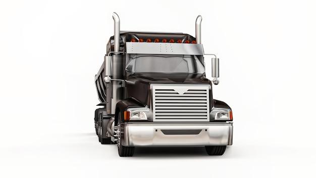 Grande caminhão americano preto com um caminhão basculante tipo reboque para o transporte de carga a granel em um fundo branco. ilustração 3d.