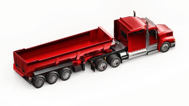 Grande caminhão americano vermelho com um caminhão basculante tipo reboque em fundo branco