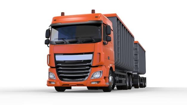 Grande caminhão laranja com reboque separado, para transporte de materiais e produtos agrícolas e de construção a granel. renderização 3d.