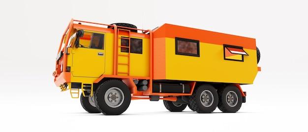 Grande caminhão laranja preparado para expedições longas e desafiadoras em áreas remotas. caminhão com uma casa sobre rodas. ilustração 3d.