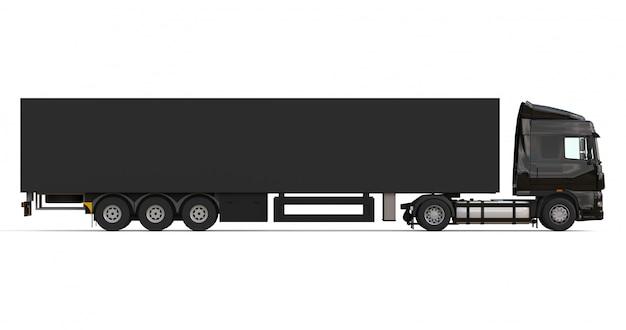 Grande caminhão preto com modelo de semi-reboque para a colocação de gráficos
