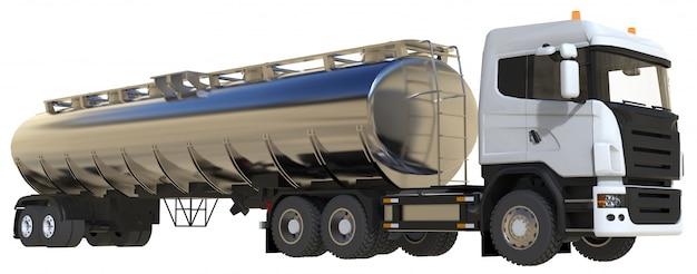 Grande caminhão-tanque branco com reboque de metal polido. vistas de todos os lados