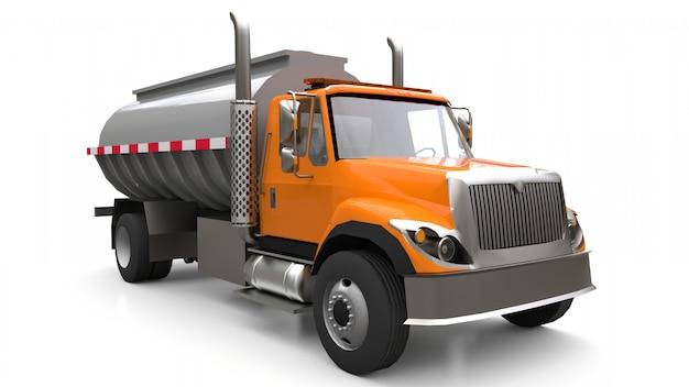 Grande caminhão-tanque laranja com reboque de metal polido. vistas de todos os lados