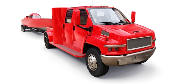Grande caminhão vermelho com reboque para transportar um barco de corrida em um fundo branco. renderização 3d.