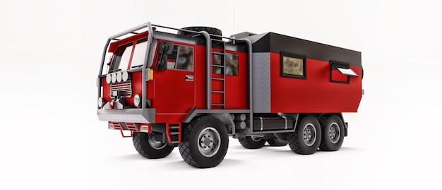 Grande caminhão vermelho preparado para expedições longas e desafiadoras em áreas remotas. caminhão com uma casa sobre rodas. ilustração 3d.