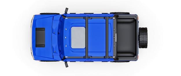 Grande caminhonete off-road azul para o campo ou expedições em fundo branco isolado. ilustração 3d.