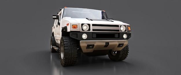 Grande caminhonete off-road branca para o campo ou expedições em fundo cinza isolado. ilustração 3d.