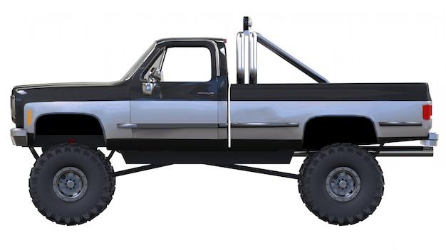Grande caminhonete off-road. treinamento completo. suspensão altamente elevada. rodas enormes com espigões para pedras e lama. renderização em 3d.