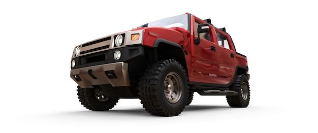 Grande caminhonete off-road vermelha para o campo ou expedições em fundo branco isolado. ilustração 3d.