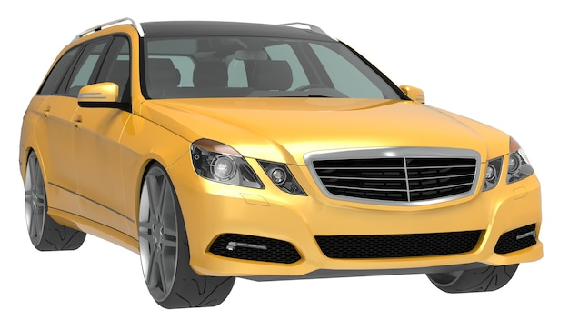 Grande carro de negócios familiar amarelo com um manuseio esportivo e ao mesmo tempo confortável