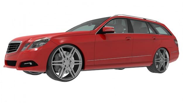 Grande carro familiar vermelho com esportivo e ao mesmo tempo manuseio confortável