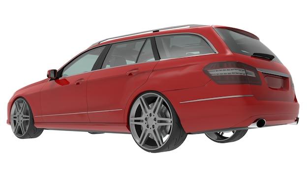 Grande carro familiar vermelho com um manuseio esportivo e ao mesmo tempo confortável. renderização 3d.