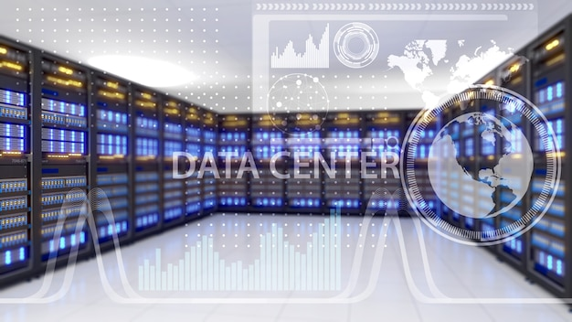 Grande centro de armazenamento, data center e tecnologia de conectividade de dados, data center, renderização 3d