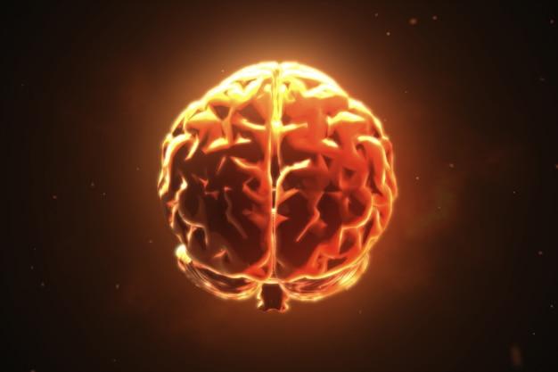 Grande cérebro forte pulsando em laranja