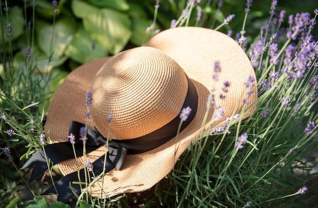 Grande chapéu de palha nos arbustos de lavanda. conceito de verão romântico.