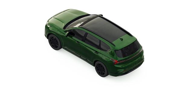 Grande cidade crossover cor verde em um fundo branco. renderização 3d.