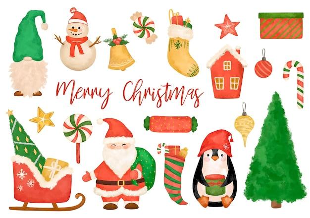 Grande clipart de elementos de natal, papai noel, trenó, gnomo, pinguim, boneco de neve, conjunto de árvore do abeto