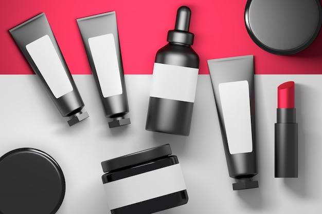 Grande coleção conjunto de garrafas de embalagens de creme cosmético tubos com batom vermelho sobre fundo vermelho e branco