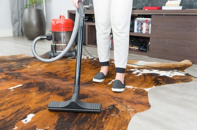 Grande conceito de limpeza doméstica, aspiração de chão, carpete.